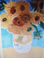 """Arte per le classi 4°: rappresentazione de """"I girasoli"""" del 1888 di Vincent Van Gogh con la tecnica che preferivano."""